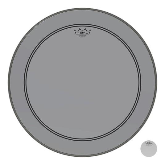 Remo Peau Powerstroke P3 Colortone Gris Bass 26po 5po Offset Hole