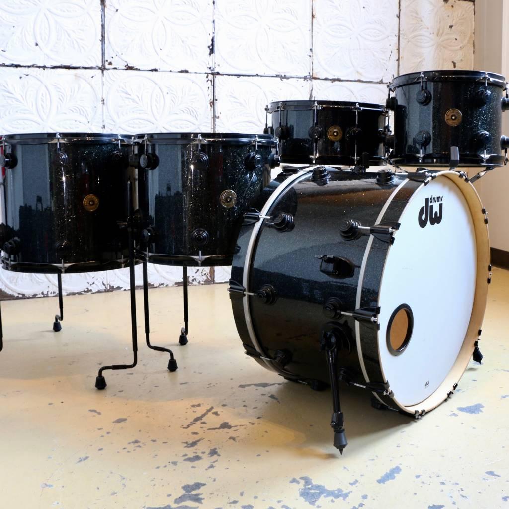 DW Used DW Jazz Series Black Ice Drum Kit 22-12-14-16in (no snare drum)