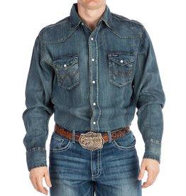WRANGLER Wrangler Men's Western Work Shirt- Antique Blue