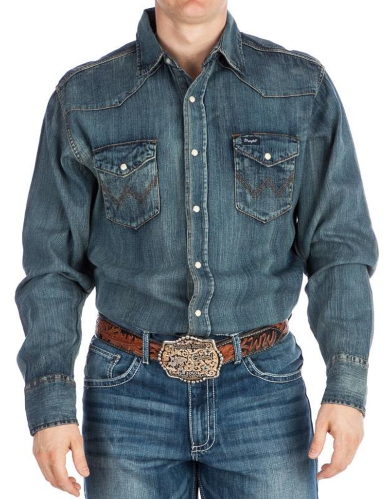 WRANGLER Wrangler Men's Western Work Shirt- Antique Blue