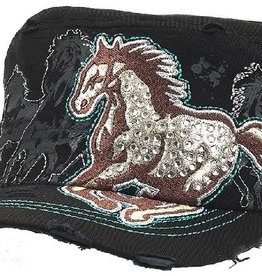 Western Express Vintage Horse Embroidered Hat With Rhinestones