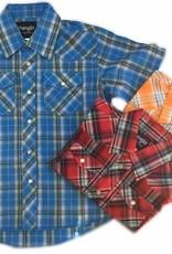 WRANGLER Wrangler Boy's Western Dress Shirt Plaid-Short Sleeve