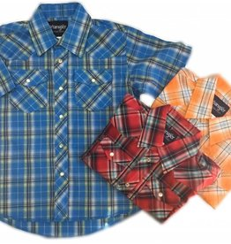 WRANGLER Wrangler Boy's Western Dress Shirt Plaid-Short Sleeve Assorted Colours