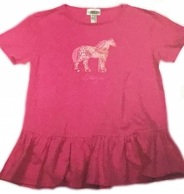 STIRRUPS CLOTHING Girls' Standing Pony Ruffle T-shirt Pink