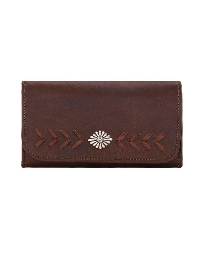 American West Mohave Tri Fold Wallet Chestnut Brown