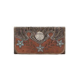 American West Desert Wildflower Tri Fold Wallet Antique Brown