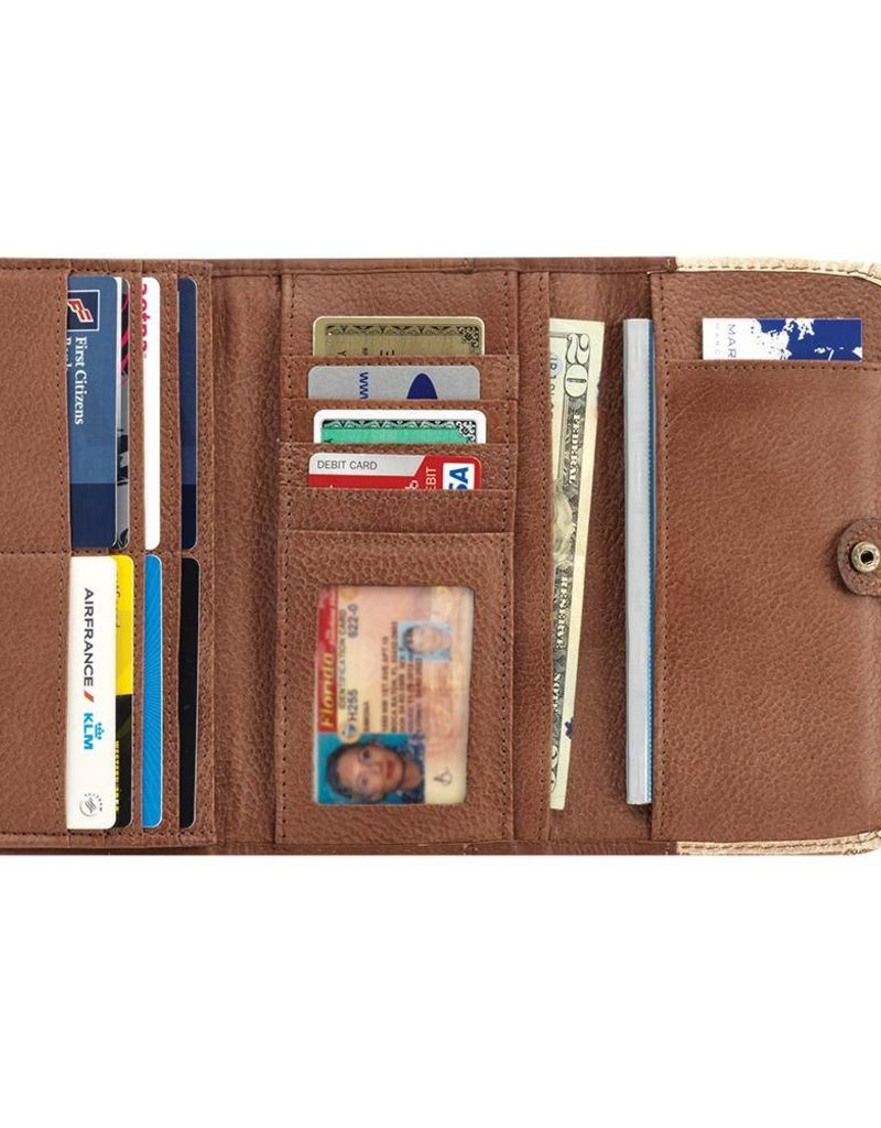 American West Desert Wildflower Tri Fold Wallet Antique Brown