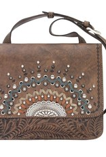 American West Bella Luna Cross Body Purse Distressed Charcol Brown