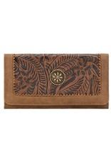 Bandana Flat Wallet Tooled Brown