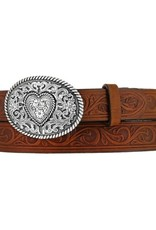 JUSTIN Girls' Trophy Heart Belt-Brown