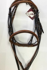 BOBBY'S ENGLISH TACK Bobby's Padded Fancy Stitched Raised Bridle in Tobacco - Full