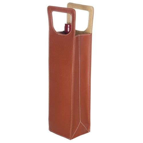 Fortezza Wine Bottle Tote Brown Leather