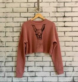 Supermaggie Chloe Llama Cropped Fleece Sweatshirt