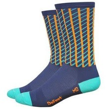 DeFeet DeFeet Hi Rouleur Aireator Net Sock: Charcoal/Celeste/Orange LG