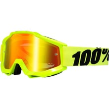 100% 100% Accuri Goggle, Fluo Yellow with Mirror Red Lens, Spare Clear Lens Included