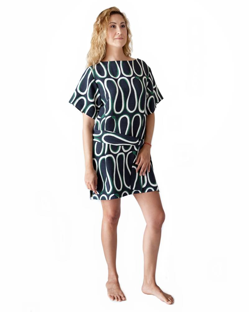 Whit Snake Print Dress