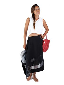 Armando Takeda Twill and Lace Organdy  Skirt