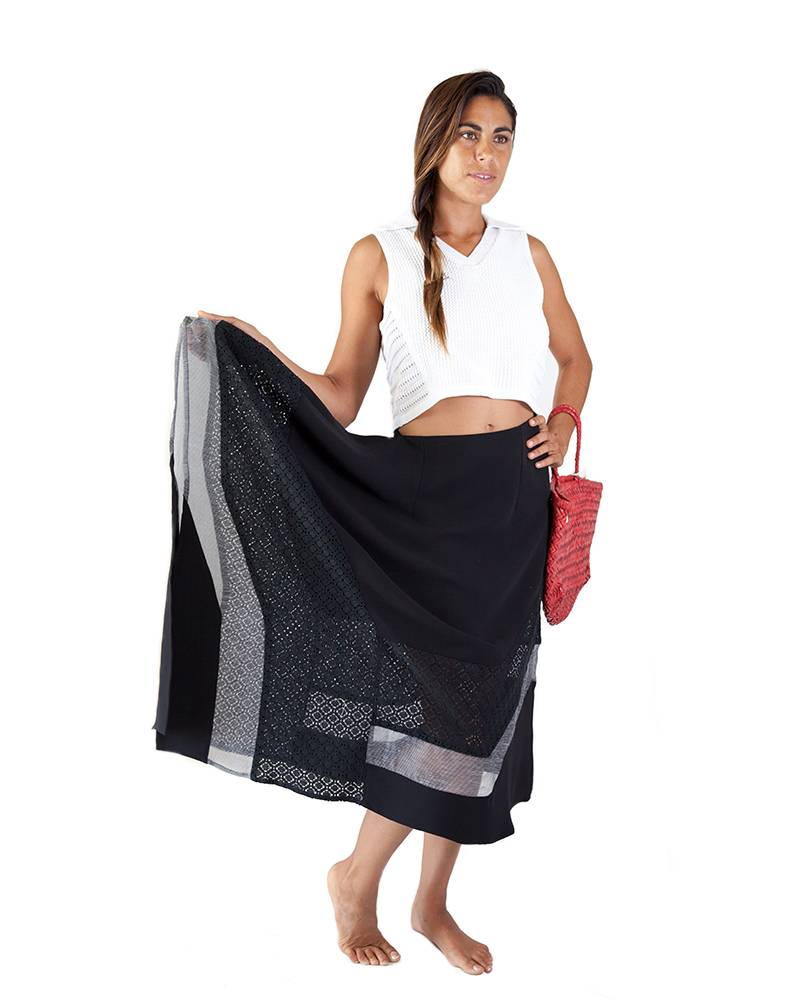 Armando Takeda Twil and Lace Organdy  Skirt