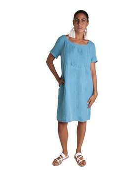 0039 Italy Pleated Linen Dress
