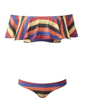Lisa Marie Fernandez Mira Flounce Mexican Stripe Bikini