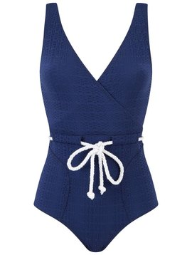 Lisa Marie Fernandez Yasmin Seersucker Drawstring Maillot Swimsuit