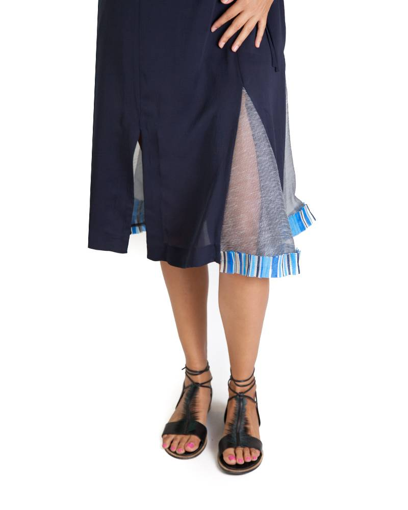 Armando Takeda Slip Dress with Mexican Raffia