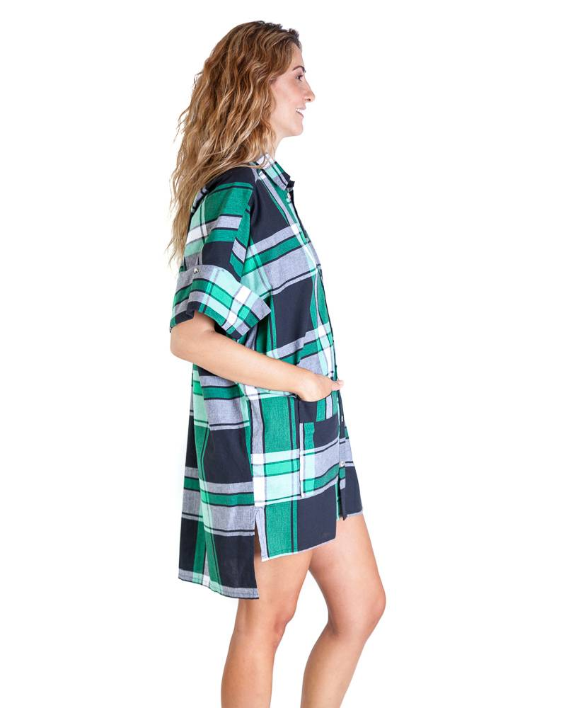 Carla Fernandez Plaid Shirt Dress