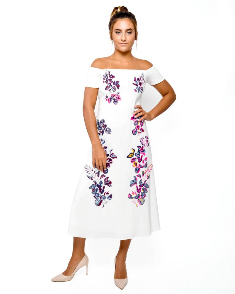 Tanya Taylor Wisteria Embroidered Dress