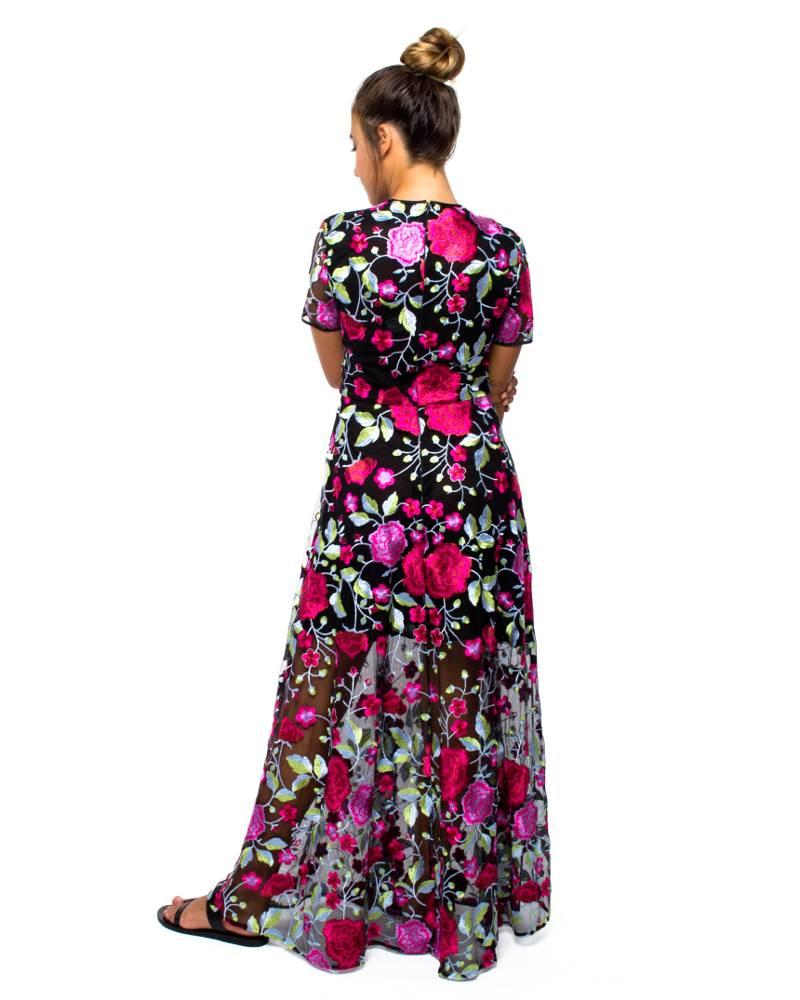 Cynthia Rowley Embroidered Mesh Maxi Dress