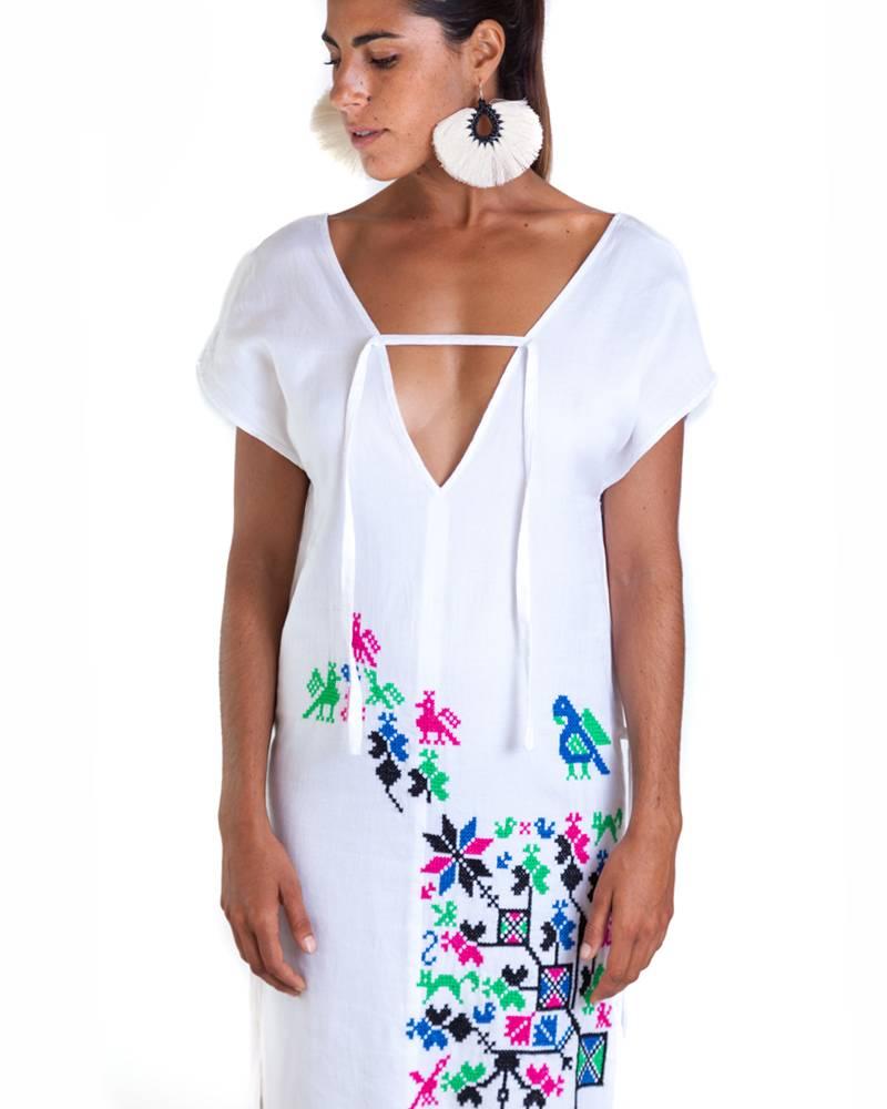 Carla Fernandez Amanecer Embroidered Dress