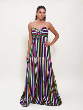 Caroline Constas Strapless Multicolor Stripe Dress