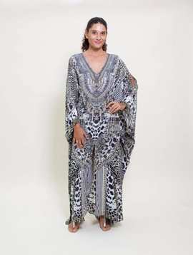 Camilla Animal Instinct Slit Silk Kaftan
