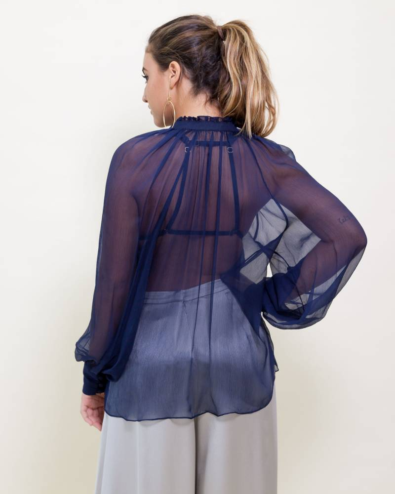 Voz Bishop Sleeve Silk Blouse