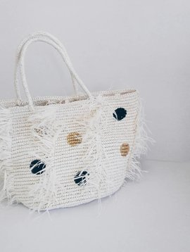 Sensi Studio Polka Dots Frayed Large Tote