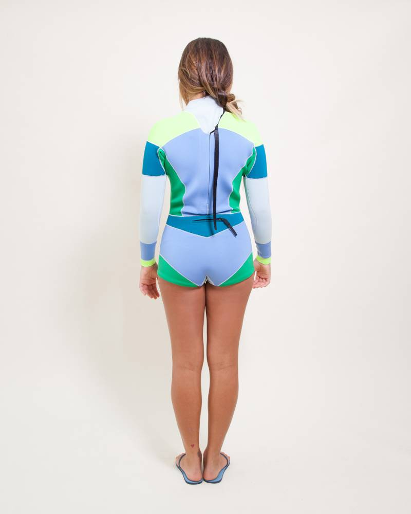 Cynthia Rowley Blue/Lemon Colorblock Wetsuit