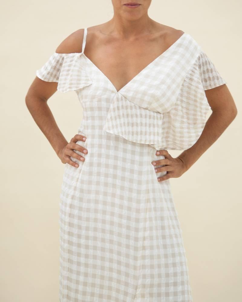 Adeam Asymmetrical Checked Dress