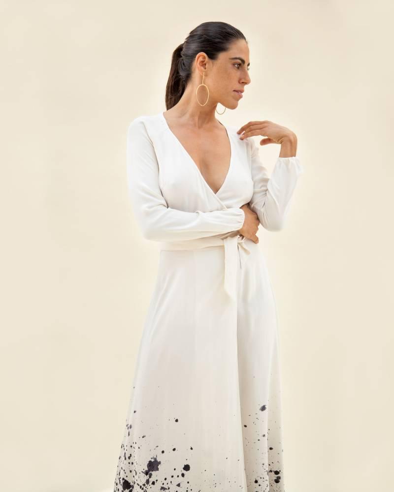 Kamperett Linden Silk Dress Tidal Print