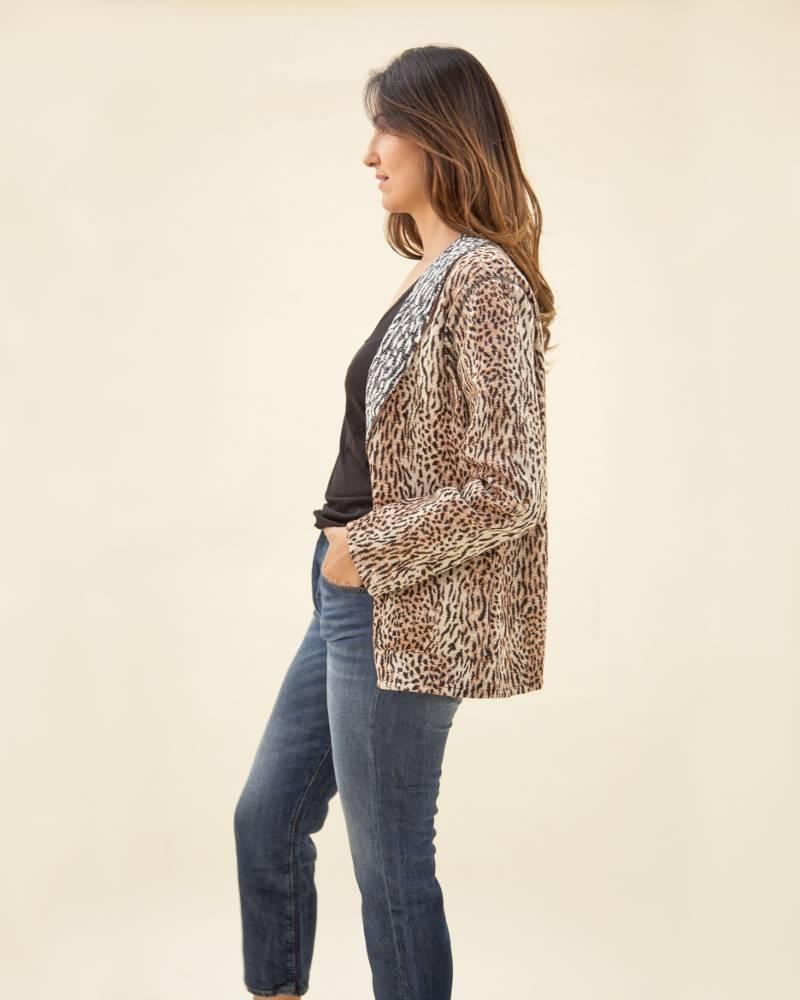 Raquel Allegra Reversible Animal Print Blazer