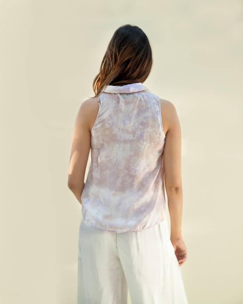 Raquel Allegra Lavender Cowl Silk Top