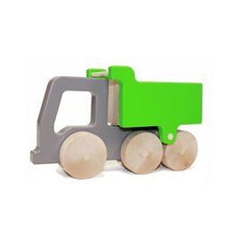 Manny & Simon Manny & Simon - Dump Truck, Wooden Push Toy, Gray with Bright Green