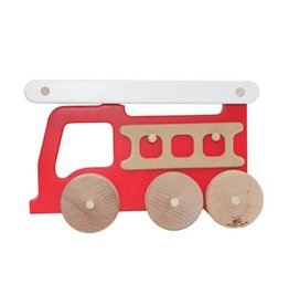 Manny & Simon Manny & Simon - Fire Truck, Wooden Push Toy, Red