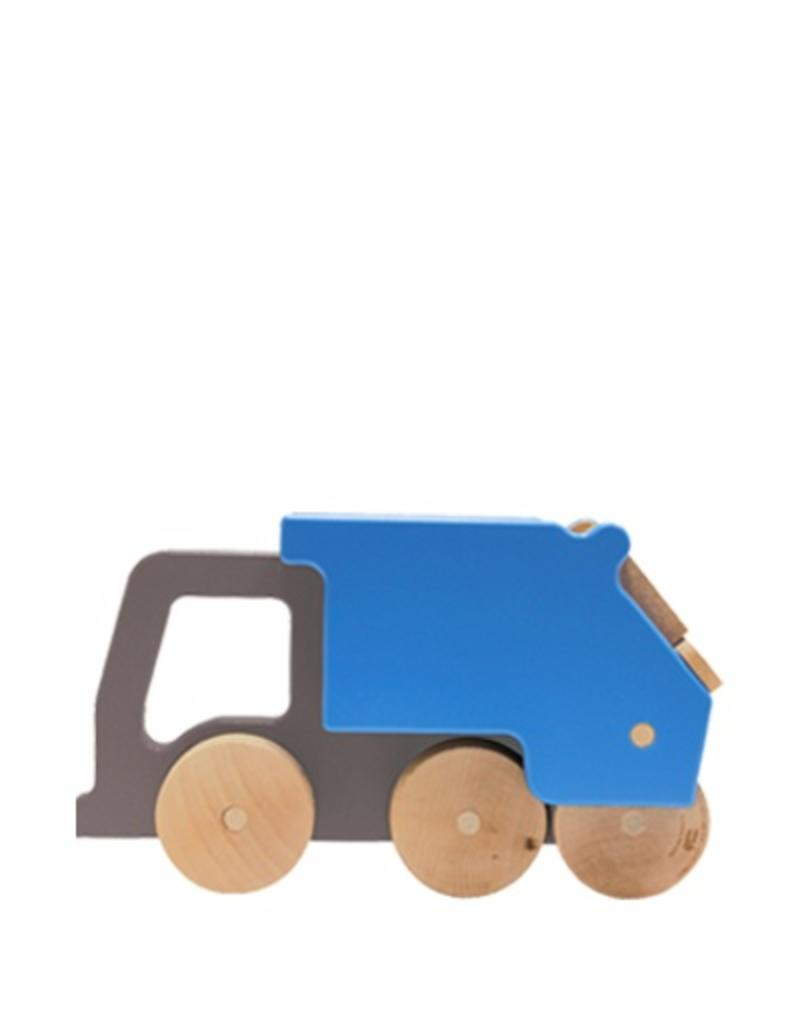 Manny & Simon Manny & Simon - Recycling Truck, Wooden Push Toy, Gray and Blue
