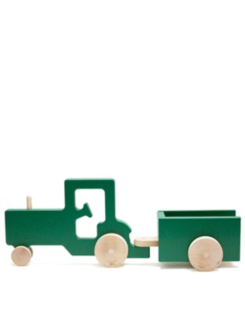 Manny & Simon Manny & Simon - Tractor And Trailer, Wooden Push Toy, Green