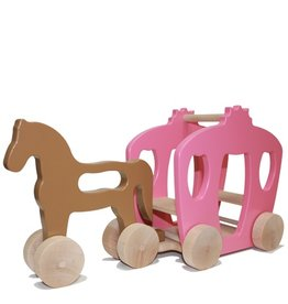 Manny & Simon Manny & Simon - Horse And Carriage, Wooden Push Toy, Pink