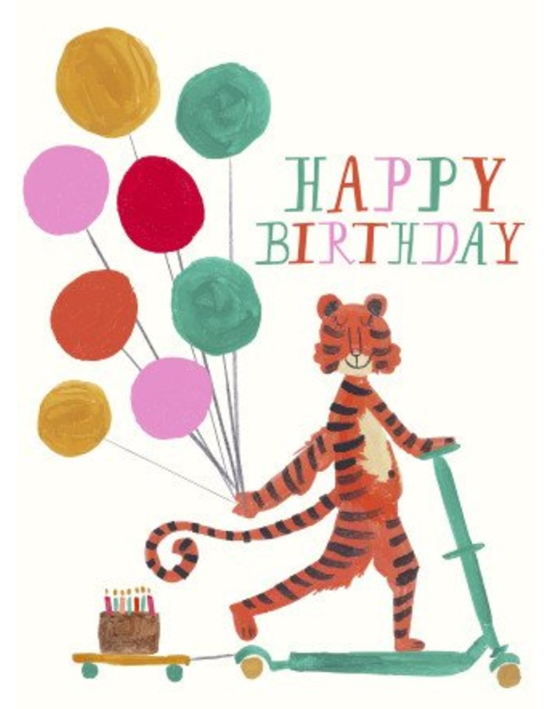 Mr. Boddington's Studio Mr. Boddington's Studio Individual Cards  Tiger Scooter Birthday