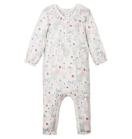 Feather Baby Feather Baby - Ruched Romper Kawaii on White 6-9M