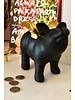Pig w/ Wing Coin Bank, Black & Gold