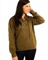 Lace Front Grommet Sweater