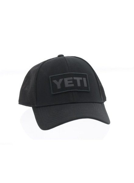 YETI Black on Black Patch Trucker Hat