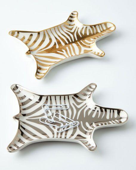 Jonathan Adler Gold Metallic Zebra Dish